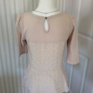 Tops - Anthropologie Peplum Top With Short Sleeves Size M